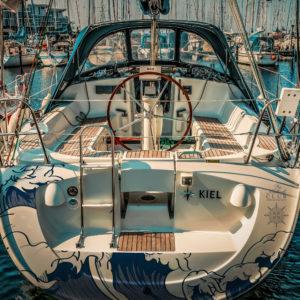 Covering de vecteur vague sur bateau