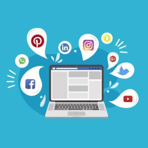 Image représentant un ordinateur avec les logos des réseaux sociaux