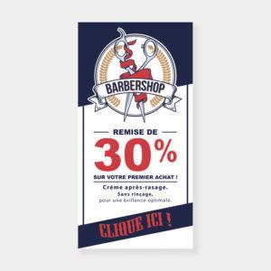 Affiche promotionnelle en ligne pour un barbier