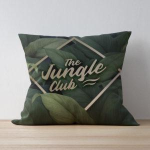 Coussin personnalisé avec des feuilles de la jungle et du texte