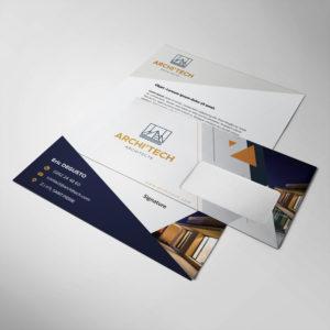 Enveloppe personnalisé pour un cabinet d'arhcitecte