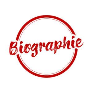 Bouton rouge avec l'inscription Biographie