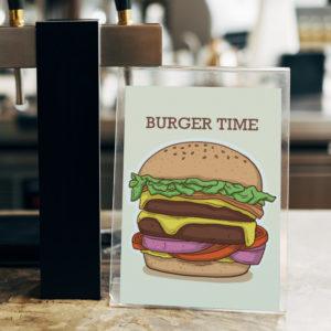 Illustration d'un Hamburger dans un présentoir transparent avec le titre Burger Time