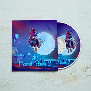 Dessin d'un personnage aux couleurs de la Réunion sur la pochette d'un CD
