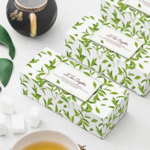 Boite de thé personnailsé avec des dessins de feuilles de menthes