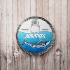 Dessin d'une sardine sur une boite de conserve