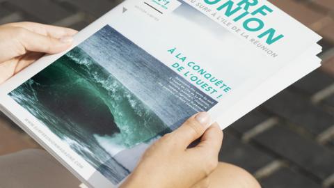 Page de garde d'un magazine de surf sur l'ile de la Réunion