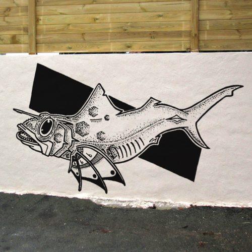 Fresque Murale avec la peinture d'un Fish Cloture